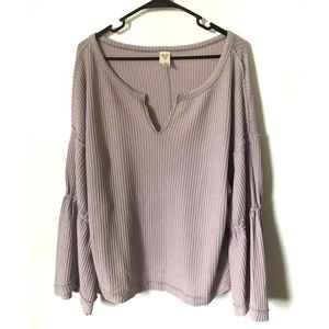 We The Free Free People Waffle Bell Sleeve Shirt